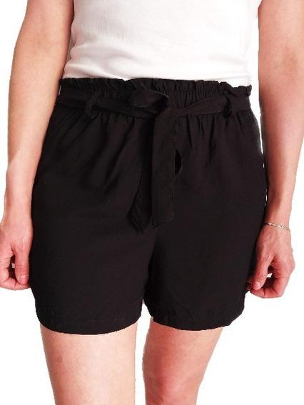 Short Fibrana Negro Con Lazo Liso Mujer