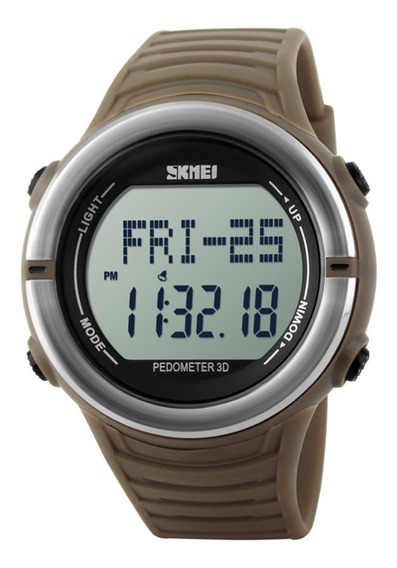 Relógio Masculino Skmei Digital Pedômetro 1111 Marrom Prata