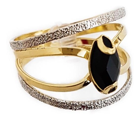 Anel Feminino Diamante Negro Banhado A Ouro 18k