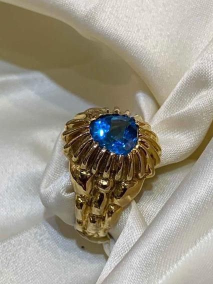 Anillo De Oro 14 K Con Topacio Azul