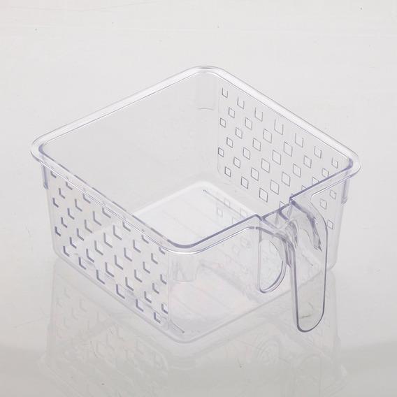 Cesta Organizadora Com Alça Para Geladeira 23x19x10 Kit Com