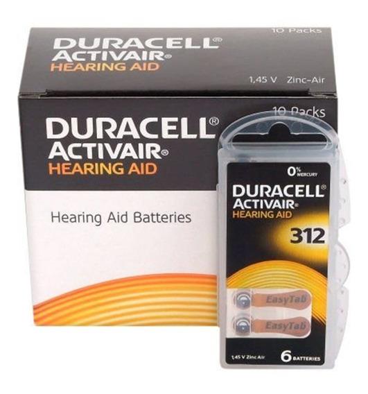 60 Baterias Duracell 312 Aparelho Auditivo,cart C/ 6