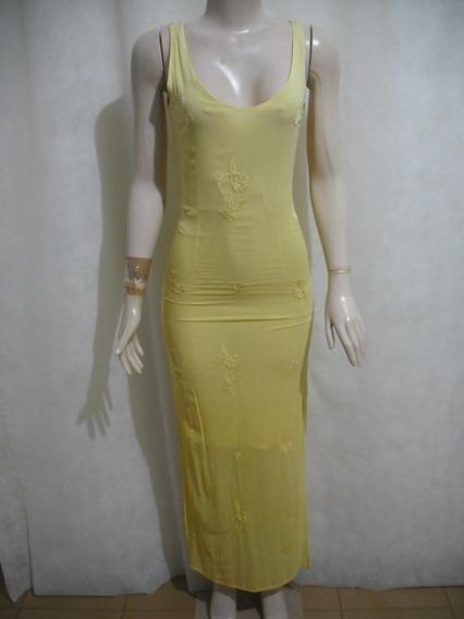Vestido Ganesh Indiano Amarelo Longo Forrado Bom Estado