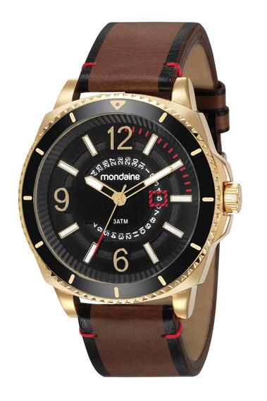 Relógio Mondaine Masculino Dourado Luxo Original 83401gpmvdh