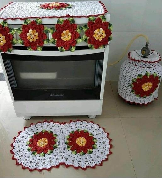 Kit Cozinha Em Crochê, Capa Botijão, Capa Fogão E Tapete