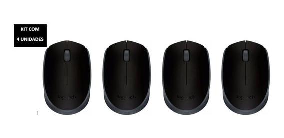Kit Com 4 Un Mouse Logitech M170 Sem Fio Preto
