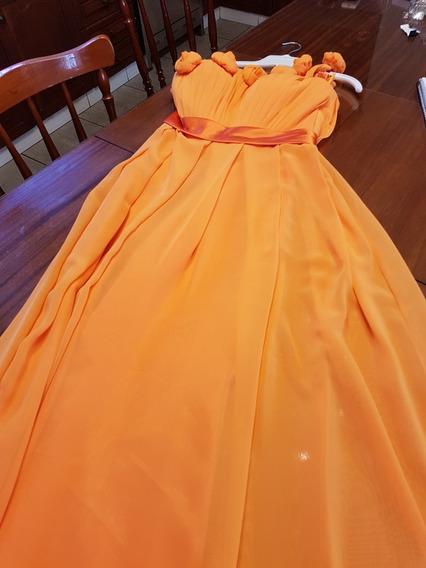 Vestido De Fiesta Importado Orange Con Un Solo Hombro T M/l