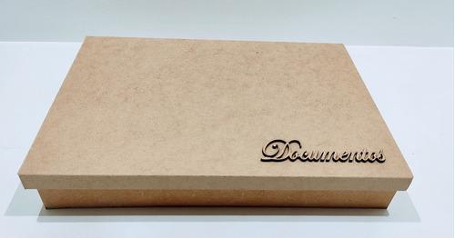 Imagem 1 de 6 de Kit 5 Caixas Documentos Retangular 34x24x5,5 Mdf + Brinde