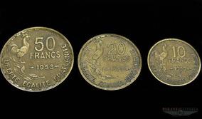 Lote 3 Moedas Da França Anos 1950 E 1953
