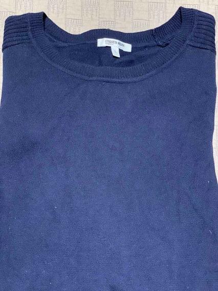Sweater Pullover Etiqueta Negra Azul L