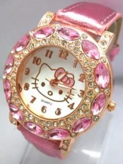 Relógio De Pulso Hello Kitty Strass Lindo