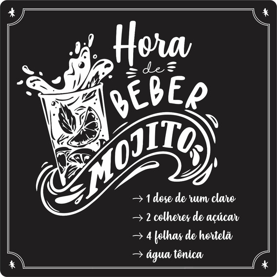 Quadros Decorativos Acrílico Gourmet Bebidas Hora Do Mojito