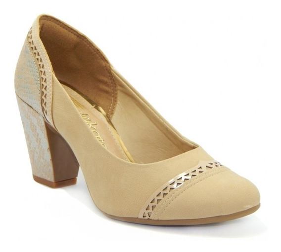 Sapato Feminino Salto Médio Grosso Dakota B7824 - Bege