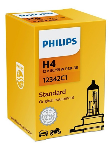 Lampara Philips Halogena 12v 60-55w H4 P43 =01661