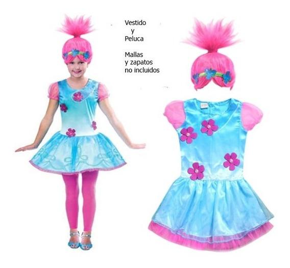 Vestido Princesa Disfraz Popy Troll Y Peluca Oferta