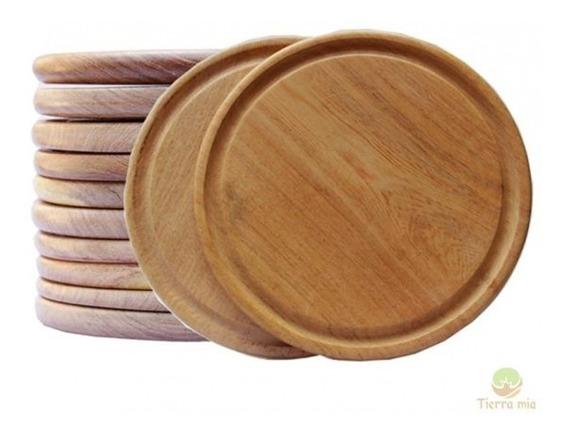 12 Platos De Algarrobo Para Asado 24cm Calidad Madera Picada