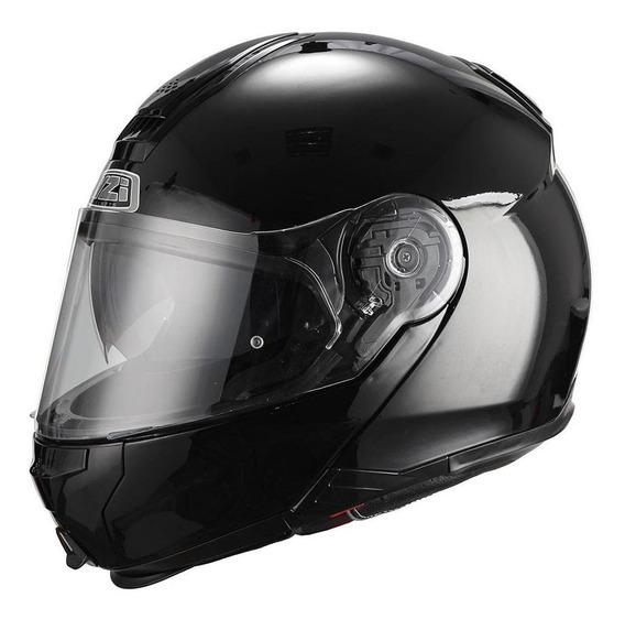 Casco Moto Rebatible Nzi Combi Doble Visor Negro Brilloso