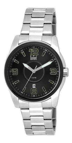 Relógio Masculino Dumont Aço Prata Fundo Preto Prova D