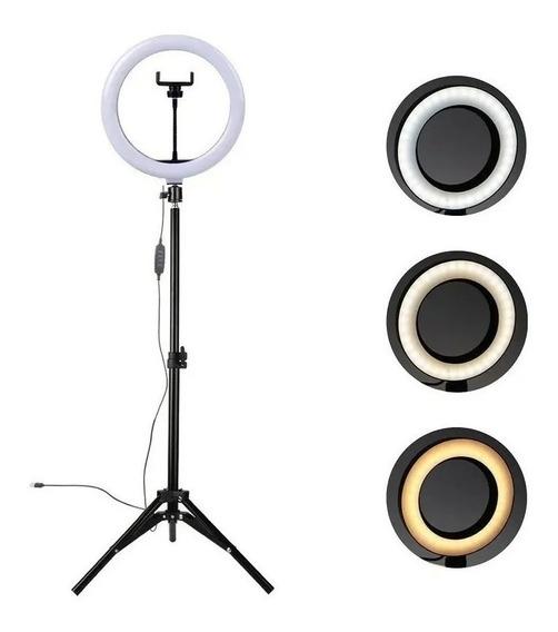 Ring Light Iluminador Led 30cm C/ Tripé Suporte Celular Usb