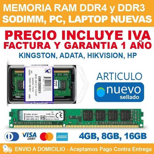 Imagen 1 de 1 de Memoria Ram Ddr4 4gb 8gb 16gb 32gb Mac, Laptop, Pc Nuevas