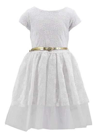 Vestido Para Niña De Encaje Con Coleta 03908