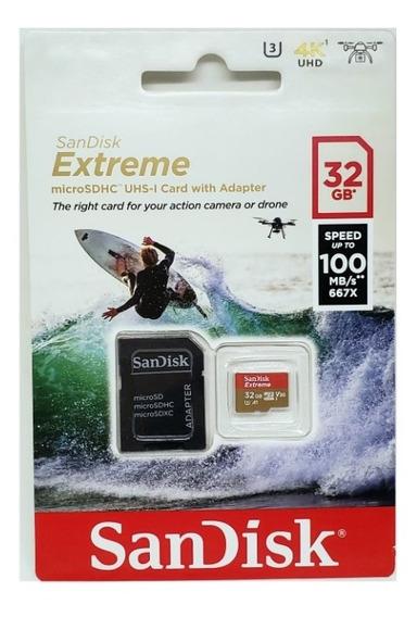 Cartão Memoria Microsd 32gb Sandisk Extreme 4k 100mb/s