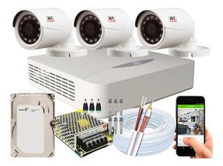 Kit Cftv 3 Câmeras Jfl Multi Hd 720p 1mp Dvr 04 Ch Dhd-2104n