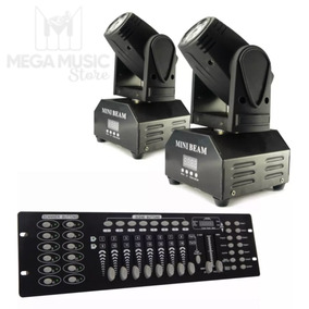 Kit 2 Mini Beam Moving Head Led 12w Cree Rgbw + Mesa Dmx
