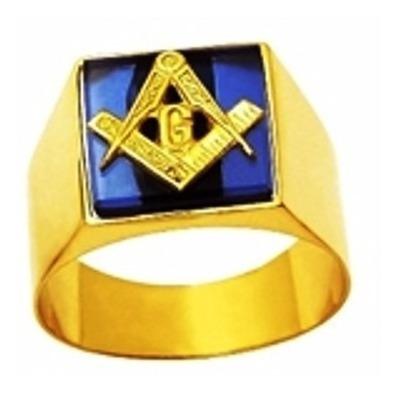 Anel Ouro 18k Triangulo Esquadro Pedra Safira Maçon Mestre