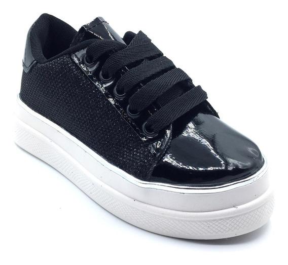 Zapatilla Sneakers Nena Niña Negra Cordones Brillo 27 Al 35