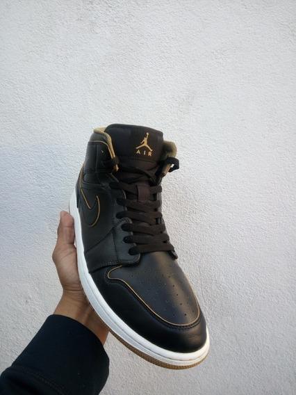 Air Jordan 1 Retro Mid Black Metallic Gold Originales