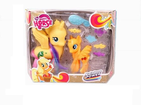 My Happy Horse Dos Figuras Pony Unicornio Con Accesorio Full