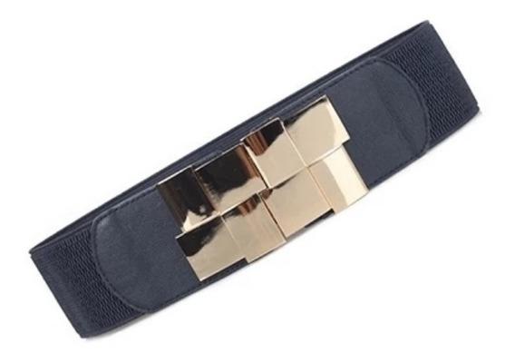 Cinturón Elástico Tipo Espejo Moderno Ancho Elástico 6 Cm Cintura 65 A 80 Cm