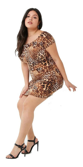 Vestido Mini Animal Print Forever 21 Plus Original Usa 2x 3x