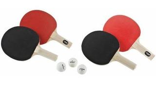Raquetas De Ping Pong Set De 4 Y 3 Pelotas Stiga Perfirmans