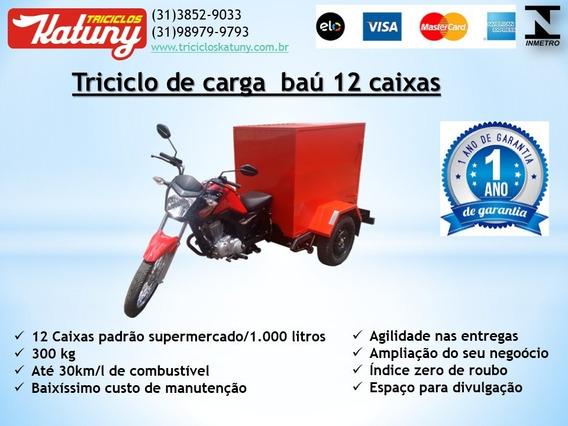 Triciclo De Carga Baú 12 Caixas