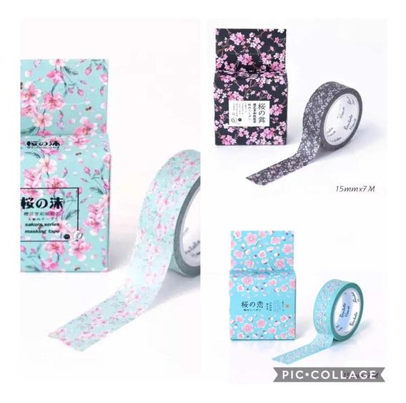 Washi Tape Fita Decorativa Flor De Cerejeira Rosa Azul Preto