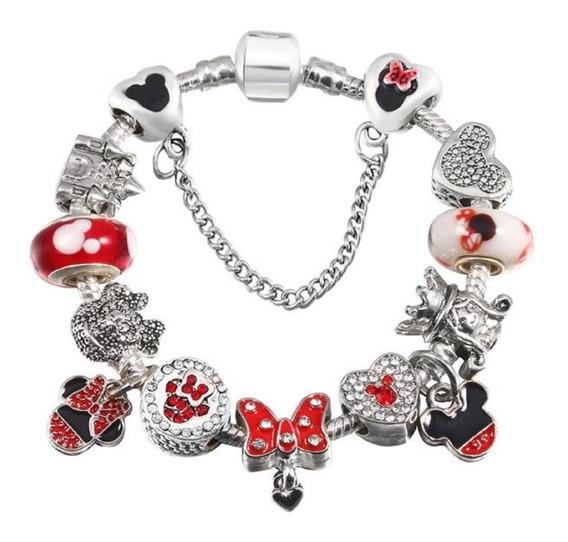 Pulseira Berloque Pandora Prata Minie Mickey Castelo Oferta