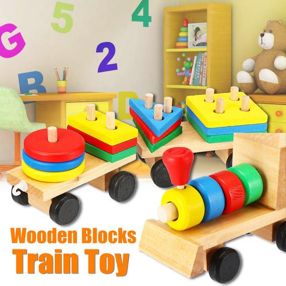 Bebé Niños Juguetes Desarrollo Tren De Madera Camión Bloques