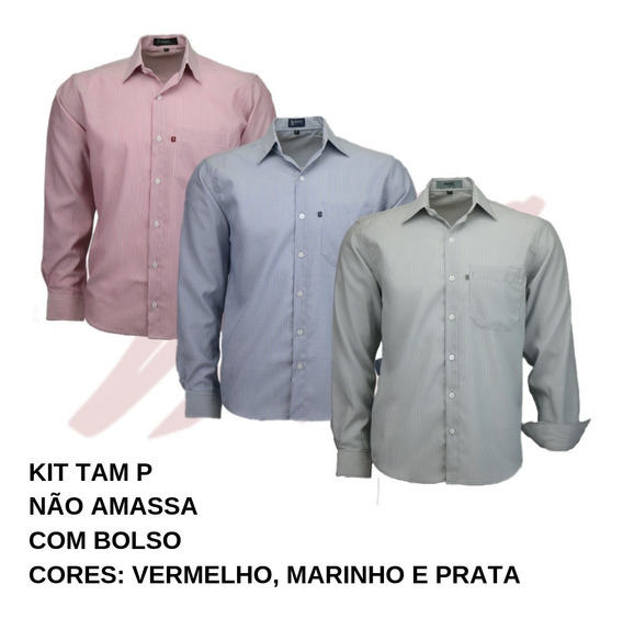 Kit 3 Camisas Social Masculina Dots Não Amassa Ultimas Peças