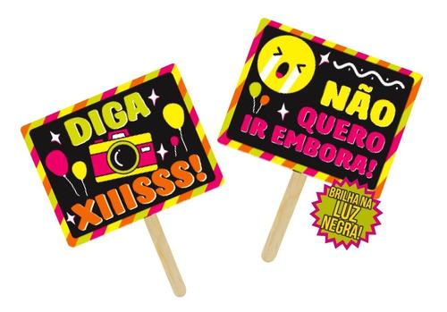 Placas Divertidas Neon Infantil - Kit 10 Unidades