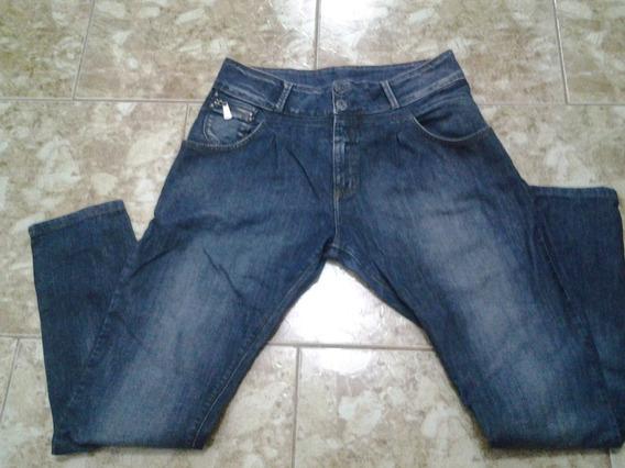 Calça Jeans Escuro Com Elastano Tamanho 42 Cós Alto