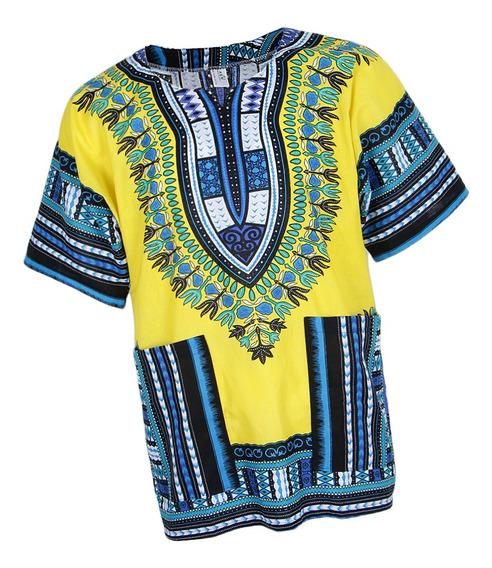 Vestido Dashiki Africano Estampado Rayas Cóctel Noche Mujer