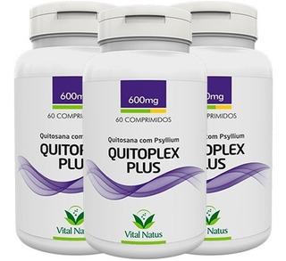 Quitoplex Plus Quitosana + Psylium 3 Frascos Emagrecedor