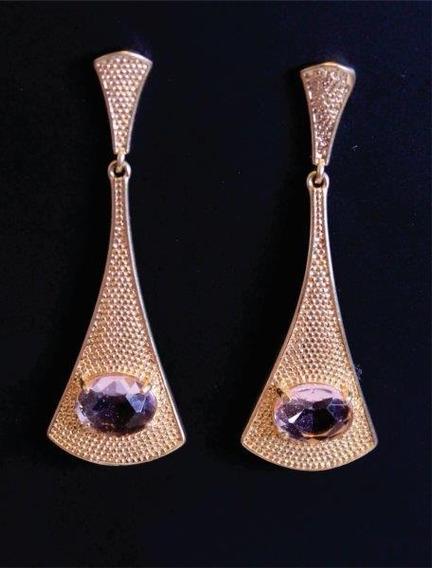 Brinco Grande Dourado Com Pedra Rosa Transparente Semi Jóia