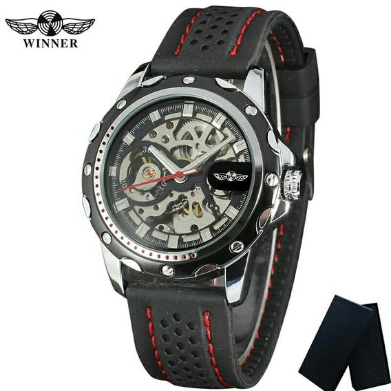 Reloj Pulsera Mecanico Automatico Winner Extensiblede Caucho
