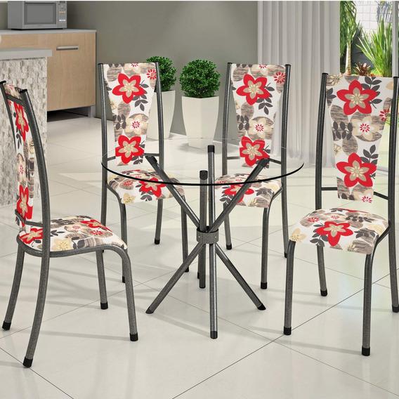 Conjunto Mesa Redonda Tampo Vidro 4 Cadeiras Dubai Bm Id