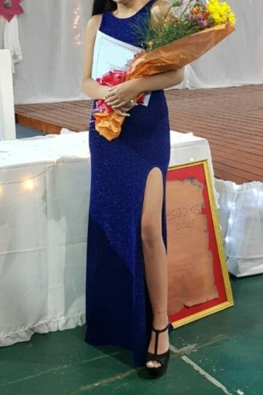Vestido De Fiesta Azul Electrico Con Brillos, Solo Un Uso
