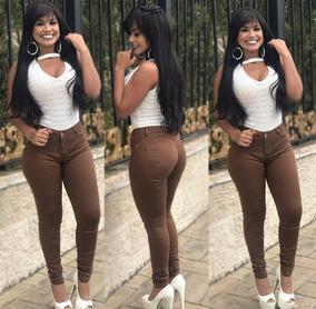 Calça Jeans Roupas Femininas Marrom Cintura Alta Com Lycra