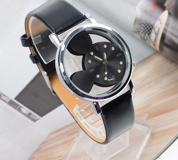 Relógio Vazado Mickey Pulseira Preto Rg007f Promoção!!!